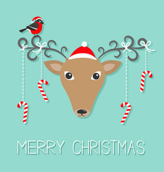 reindeeer head in santa claus hat merry christmas vector image