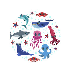 Sea animals banner template cute sea creatures in vector