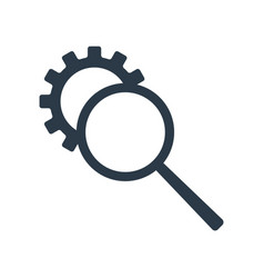 Seo tool icon magnifier and gear icon isolated vector