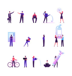 set male and female characters working on vector image
