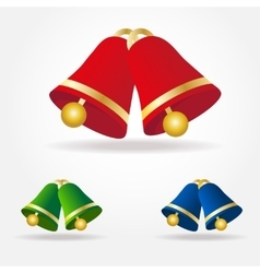 Set of Christmas bells Green red and blue vector