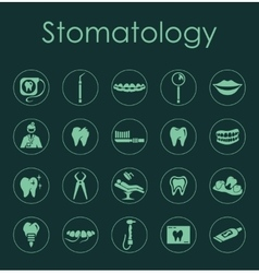 Set of stomatology simple icons vector