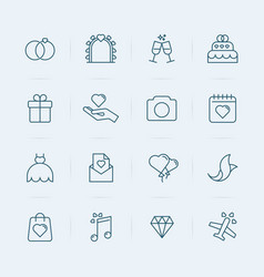 set wedding icons in thin line style vector image