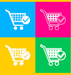 shopping cart with check mark sign four styles of vector image