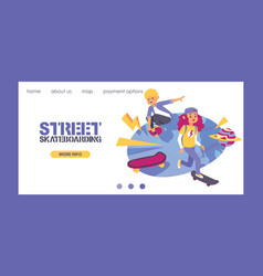 skateboard people characters stylish skating kids vector image