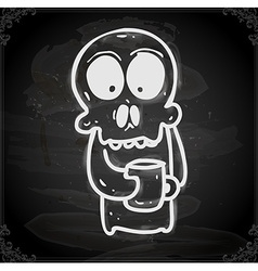 Skeleton with coffee drawing on chalk board vector