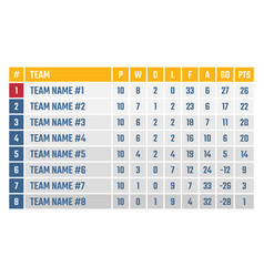 soccer or football league table sports tournament vector image
