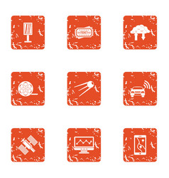 Space industry icons set grunge style vector