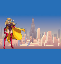Superheroine standing tall in city vector