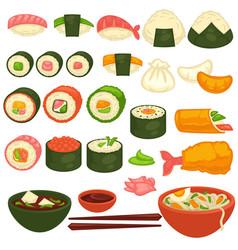 sushi rolls and sashimi japanese cuisine vector image