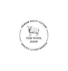 the wool shop logo with hand drawn lamb vector image