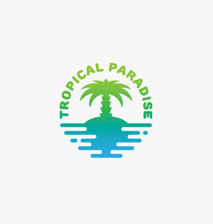 tropical paradise logo vector image