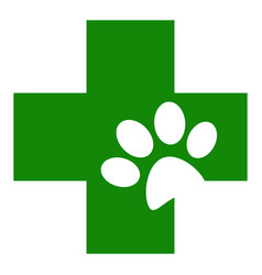 Veterinary green cross with animal paw icon vector