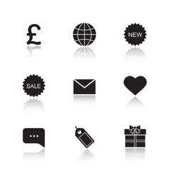 Web store drop shadow icons set vector image