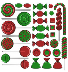 with christmas red and green sweets vector image