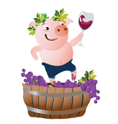 with happy pig winemaker vector image