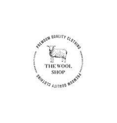 wool shop logo with hand drawn lamb vector image