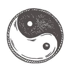 ying yang sketch symbol vintage vector image