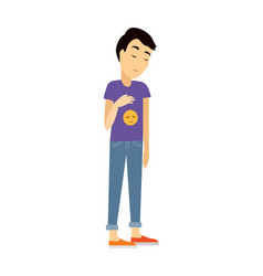 Young man in depression flat vector
