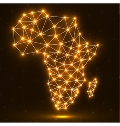 Abstract polygonal Africa map with glowing dots vector image vector image
