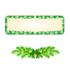 Banner Christmas Spruce and snowflakes vintage vector image vector image