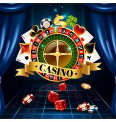 Casino Night Games Symbols Composition Poster vector image