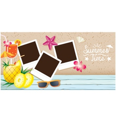 Coconut Fruit and Summer Objects with Frame vector image vector image