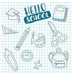 hello school doodle greeting card vector image vector image