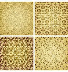 seamless golden patterns vector image vector image