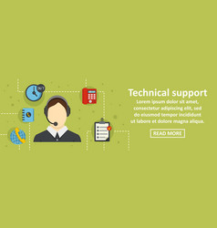 technical support banner horizontal concept vector image vector image