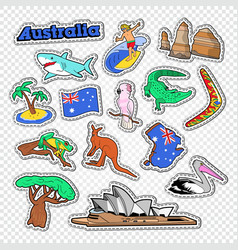 travel to australia doodle australian stickers vector image vector image
