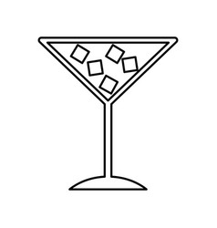 Tropical cocktail cup with ice cubes vector