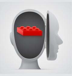 Block inside open head logic concept vector