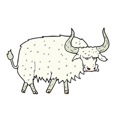 comic cartoon annoyed hairy ox vector image vector image