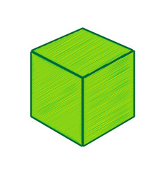 cube sign lemon scribble vector image vector image