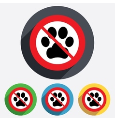 Dog paw sign icon No Pets symbol vector image