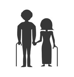 elder couple silhouette vector image vector image