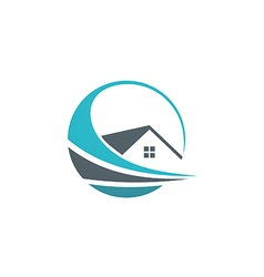 house abstract realty property logo vector image
