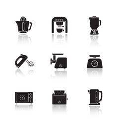 Kitchen electronics drop shadow icons set vector image vector image