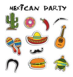mexican party sticker applique set vector image vector image