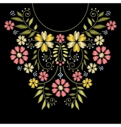 Neck line embroidery vector image vector image