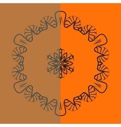Outlined mandala over bright orange background vector image vector image