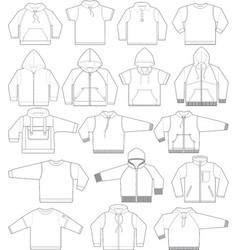 sweatshirt hoodie and fleece in black and white vector image