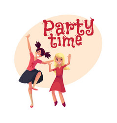 two girls dancing at party blue dress teenager vector image vector image