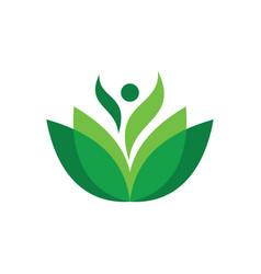 abstract leaf human eco logo vector image
