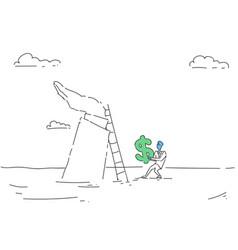 business man climb ladder holding dollar sign vector image