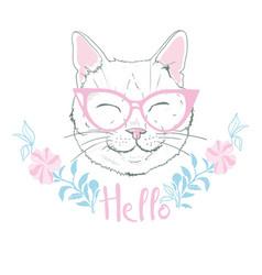 cute cat sketch print design cat children print vector image