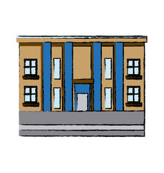 Drawn building with column commercial business vector
