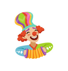 funny circus clown playing harmonic avatar of vector image vector image