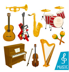 musical instruments isolated icons vector image vector image